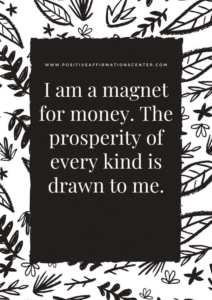 I am a magnet for money. The prosperity of every kind is drawn to me.