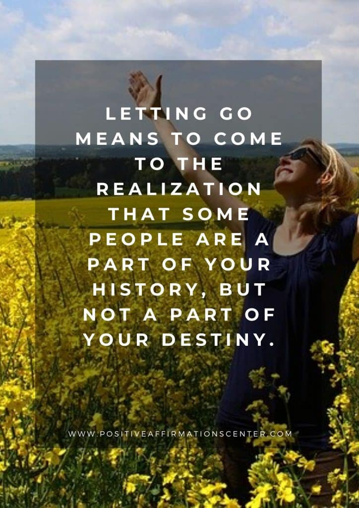 Letting go means to come to the realization that some people are a part of your history, but not a part of your destiny.